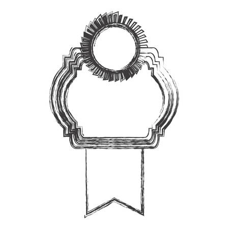 grayscale sketch of heraldic frame with ribbon and circular emblem top side vector illustration
