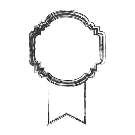 monochrome sketch of rounded frame with wide ribbon vector illustration Illustration