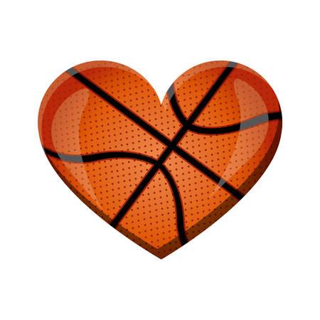 witte achtergrond van hart met textuur van basketbal bal vectorillustratie
