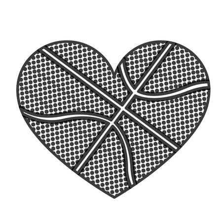 grayscale background of heart with texture of basketball ball vector illustration