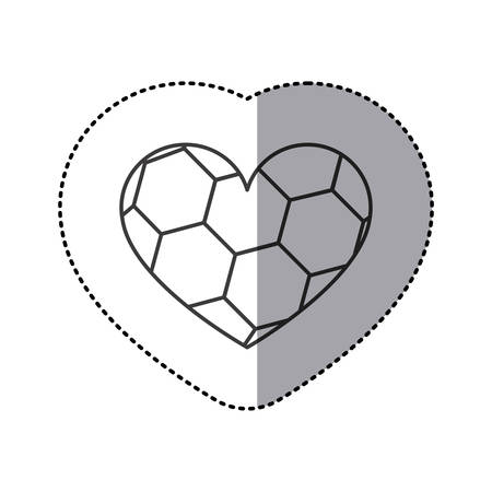 grayscale sticker of heart with texture of soccer ball vector illustration Illustration