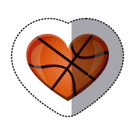 nba: background sticker of heart with texture of basketball ball vector illustration