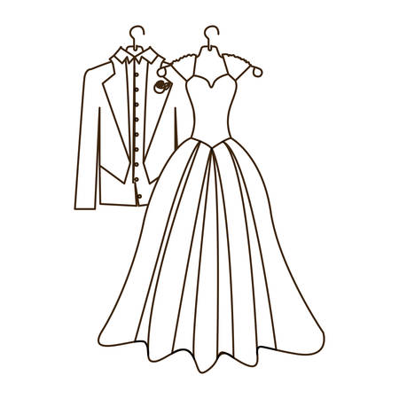 sketch silhouette costume wedding desing vector illustration Illustration