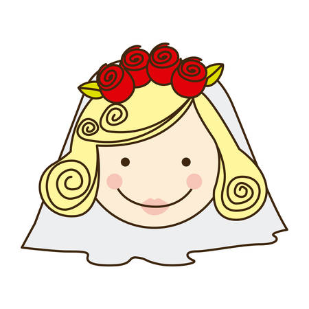 colorful silhouette cartoon face bride with veil vector illustration