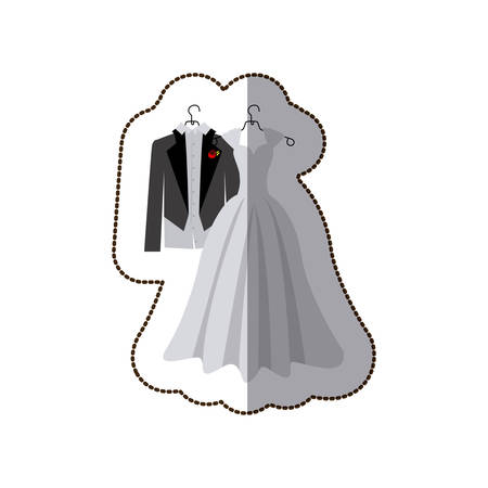 bottons: sticker colorful silhouette costume wedding desing vector illustration Illustration