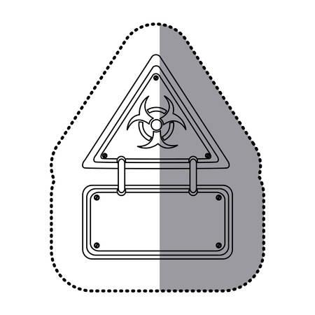 biohazard: monochrome silhouette sticker with warning triangle of biohazard symbol and rectangular plate vector illustration