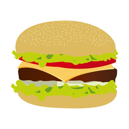 colorful silhouette with big burger vector illustration