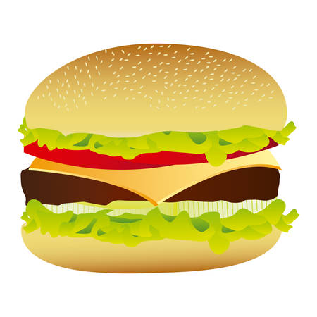 colorful silhouette with big hamburger vector illustration