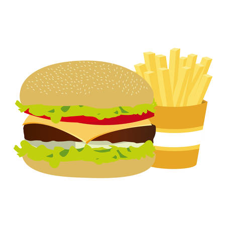 colorful silhouette with burger and french fries vector illustration