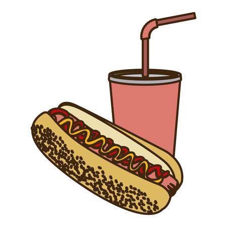 vaso de precipitado: color figure of soda with straw and hot dog vector illustration