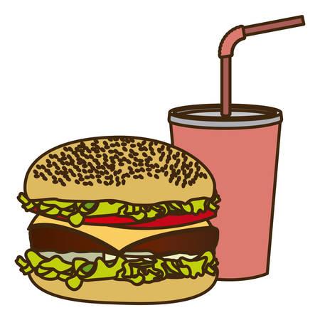 vaso de precipitado: color figure of soda with straw and burger vector illustration