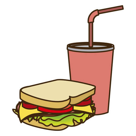 color figure of soda with straw and sandwich vector illustration