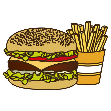 fried chicken: color figure with burger and french fries vector illustration