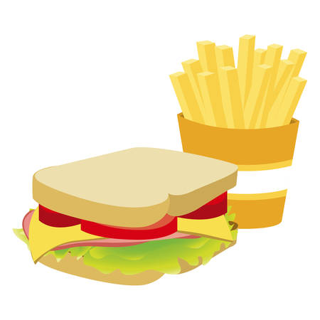 deli sandwich: Colorful silhouette with sandwich and french fries vector illustration.
