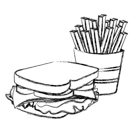 deli sandwich: monochrome sketch with sandwich and french fries vector illustration