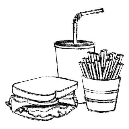 mayonnaise: monochrome sketch of sandwich with french fries and soda vector illustration
