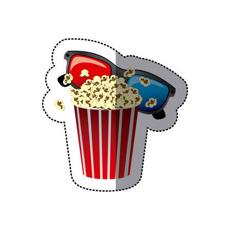 sticker color with popcorn cup and glasses 3D vector illustration Illustration