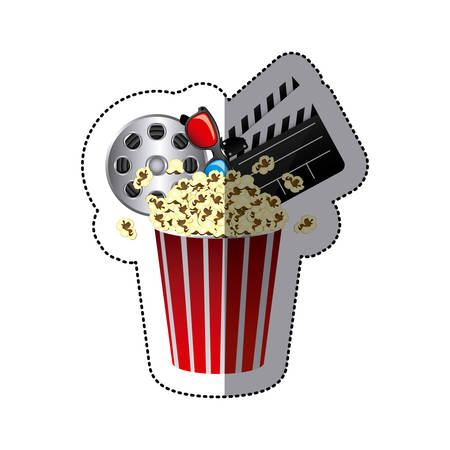 Colord sticker with popcorn cup,  cinematography tape and clapper board vector illustration