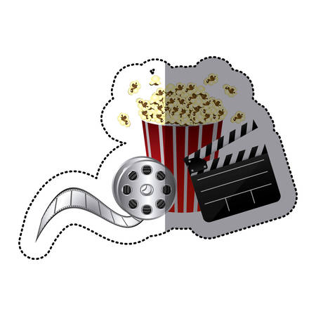 pop corn: Colored  sticker with popcorn cup,  cinematography tape and clapper board vector illustration