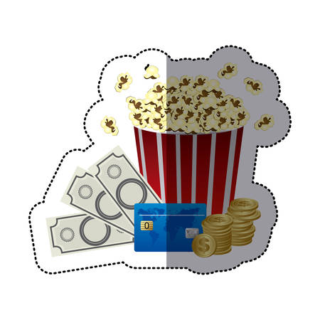pop corn: sticker color with popcorn cup with money and movie tickets vector illustration Illustration