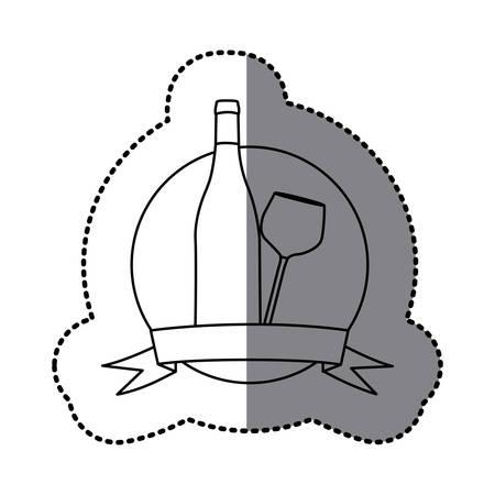 figure emblem wine bottle and glass icon, vector illustraction design