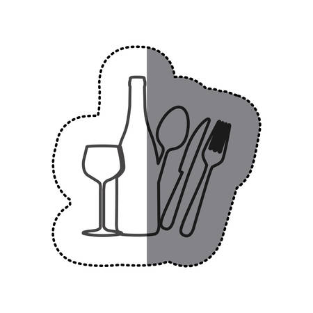 silhouette wine bottle, glass and cutlery icon,vector illustration design Illustration