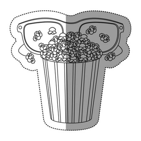 buttery: monochrome contour sticker with popcorn cup and glasses 3D vector illustration Illustration