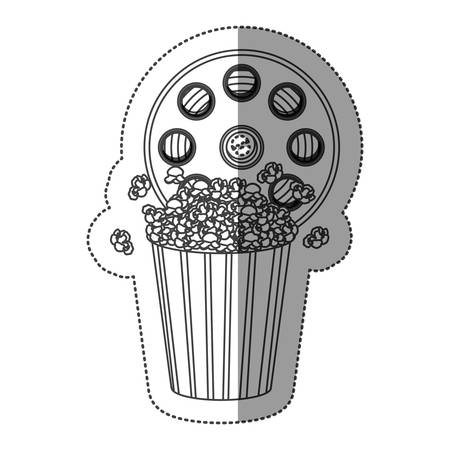 buttery: monochrome contour sticker with cinematography tape and popcorn vector illustration