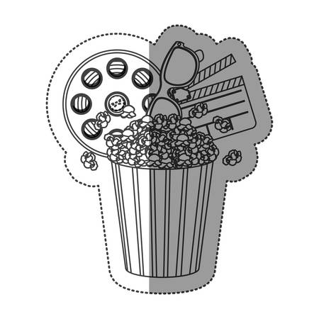 buttery: monochrome contour sticker with popcorn cup with cinematography tape and clapper board vector illustration