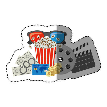 buttery: colorful sticker with popcorn cup and glasses 3D and money and movie tickets and movie tape and clapper board vector illustration