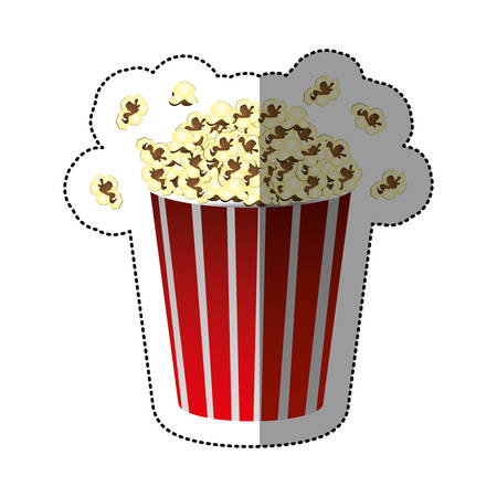 buttery: colorful sticker of popcorn container vector illustration