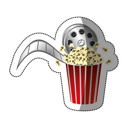 buttery: colorful sticker with movie film and popcorn with half shadow vector illustration Illustration