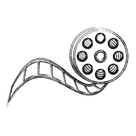 monochrome sketch with video reel tape vector illustration