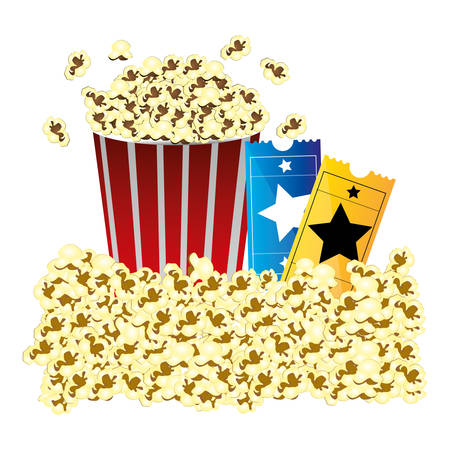 color background with butter popcorn container and movie tickets vector illustration Illustration