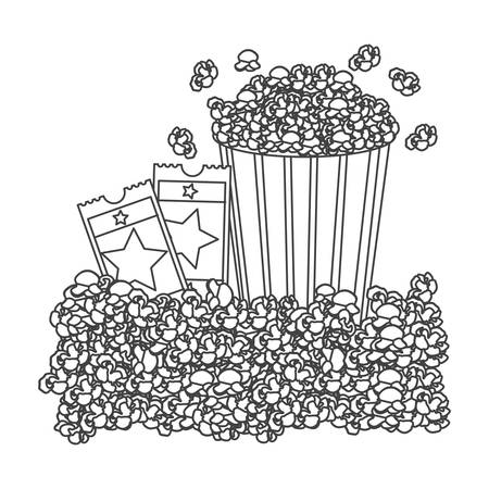 pop corn: grayscale contour with popcorn container and movie tickets vector illustration