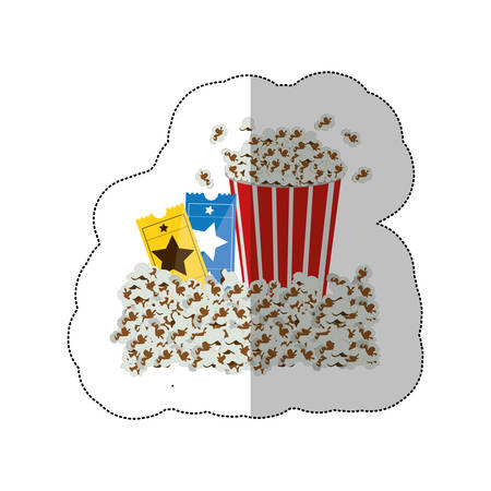 pop corn: color background sticker with popcorn container and movie tickets vector illustration