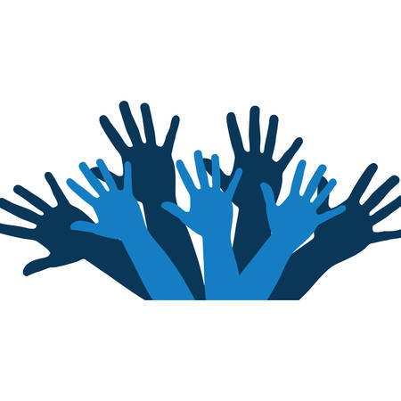 color silhouette with support hands in blue vector illustration