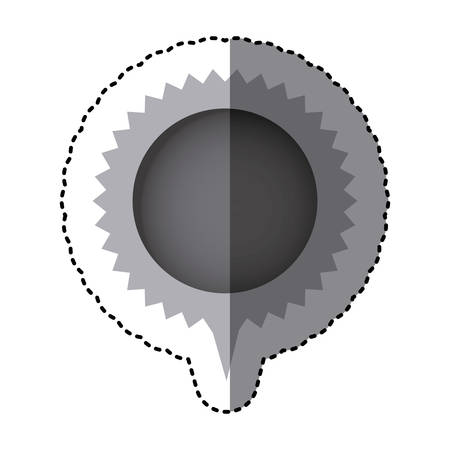 grayscale sticker with circular speech with sawtooth contour and tail vector illustration