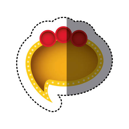 sticker of yellow cloud speech with tail and red circles on top side vector illustration