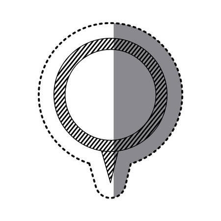 monochrome sticker of circular speech with tail and contour of stripes vector illustration