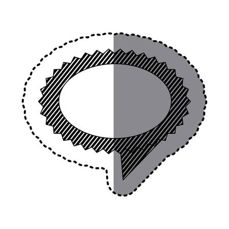 monochrome sticker of oval speech with sawtooth contour with stripes vector illustration