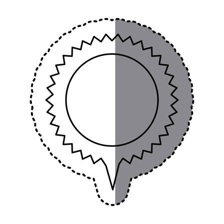 monochrome sticker of circular speech with sawtooth contour and tail vector illustration
