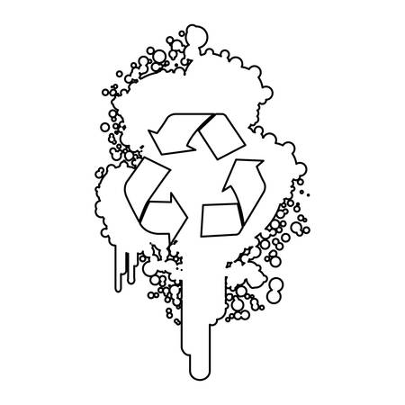 figure stain aerosol sprays with recycle symbol inside, vector design Illustration