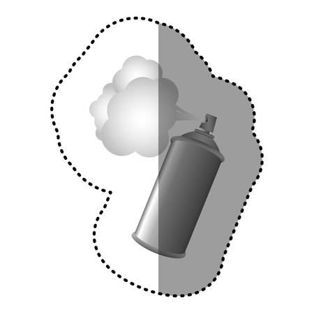 paint container: gray aerosol sprays with cloud icon, vector