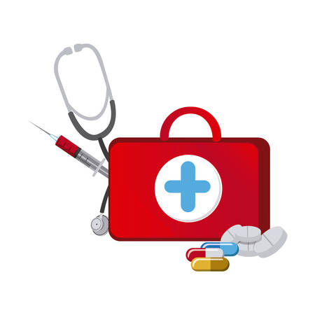 red suitcase health with stethoscope, syringe and treatment, vector illustraction