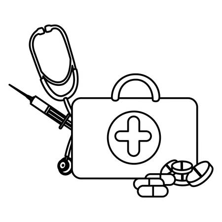 figure suitcase health with stethoscope, syringe and treatment, vector