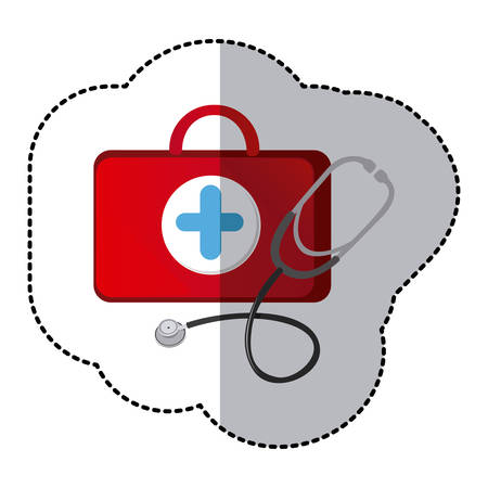 color suitcase health with stethoscope icon, vector illustraction design