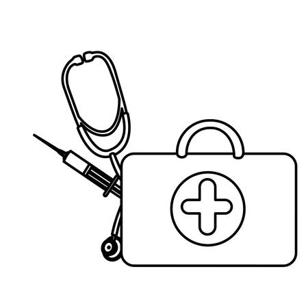 silhouette suitcase health with stethoscope and syringe , vector  design