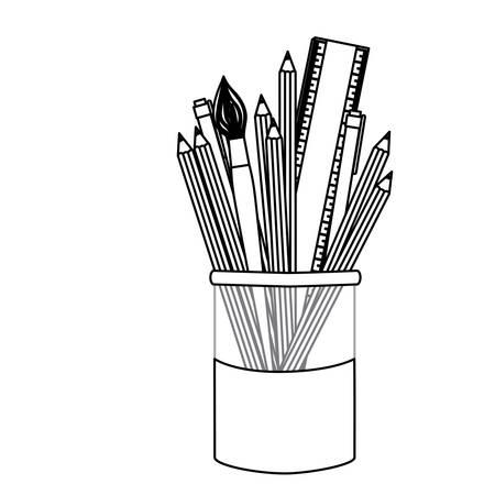 silhouette coloured pencils in jar icon