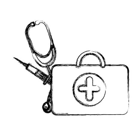 profile suitcase health with stethoscope and syringe , vector   design